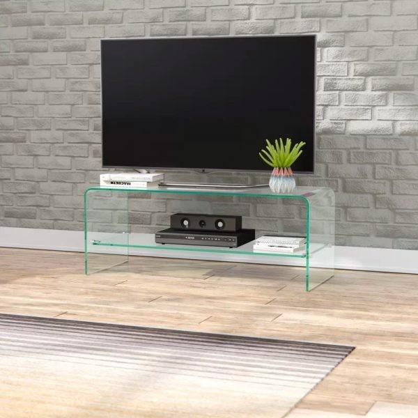 طاولات تلفزيون 2020- طاولة تلفاز زجاجية بسيطة