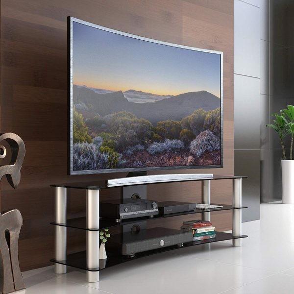طاولات تلفزيون 2020- طاولة زجاج بقوائم معدنية