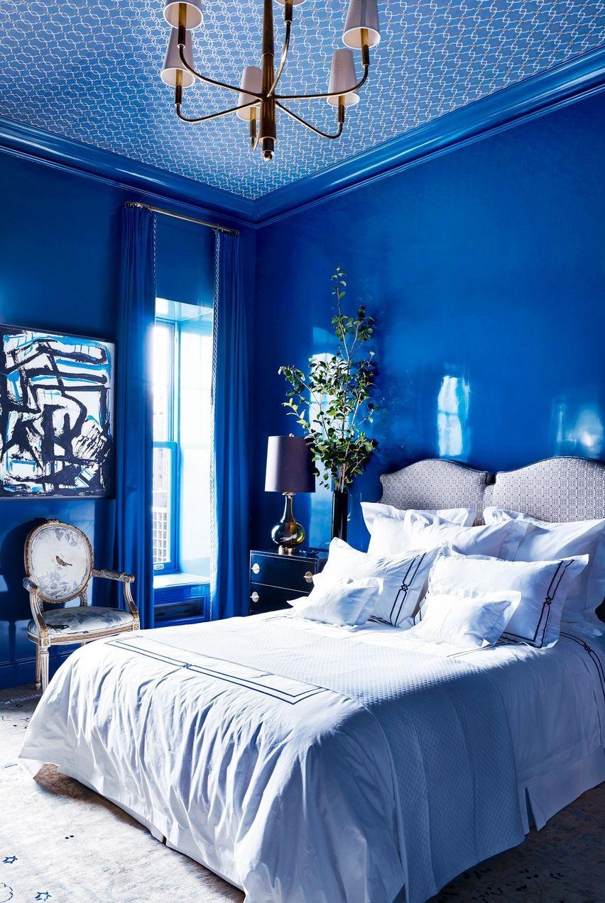 درجات اللون الأزرق في الدهانات- الأزرق الملكي في غرف النوم