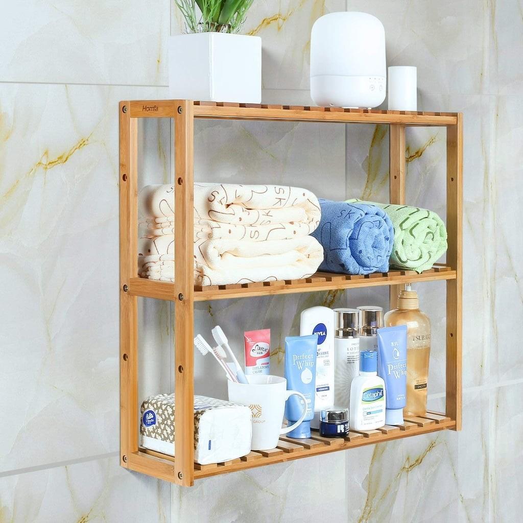 منظمات الحمام- الأرفف الخشبية المعلقة