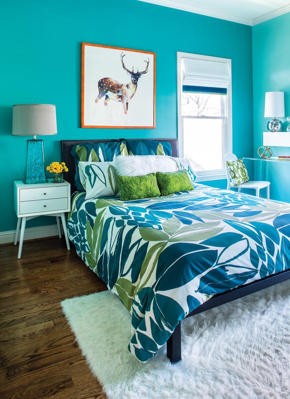 بالصور غرف نوم باللون التركواز- التركواز مع الأبيض في غرف النوم