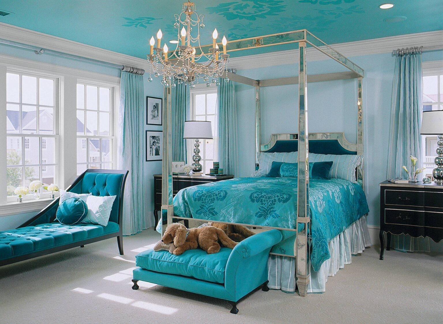 بالصور غرف نوم باللون التركواز- التركواز في الأثاث