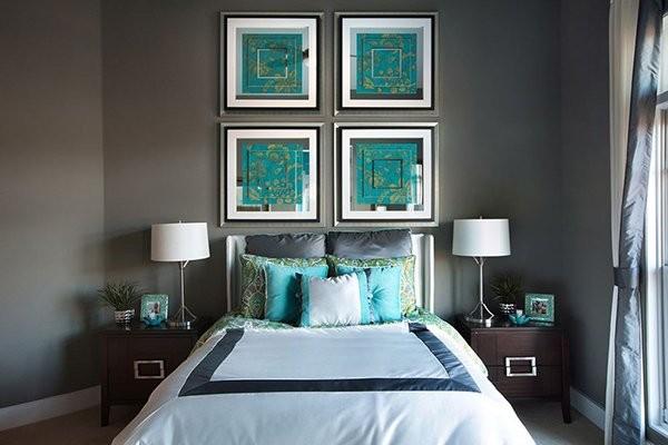 بالصور غرف نوم باللون التركواز- التركواز في اكسسوارات غرف النوم