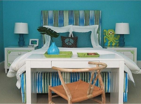 بالصور غرف نوم باللون التركواز- غرف نوم بالتركواز المشجر