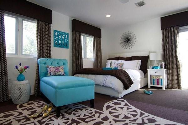 بالصور غرف نوم باللون التركواز- التركواز مع البني في غرف النوم