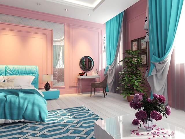 بالصور غرف نوم باللون التركواز- التركواز مع الوردي