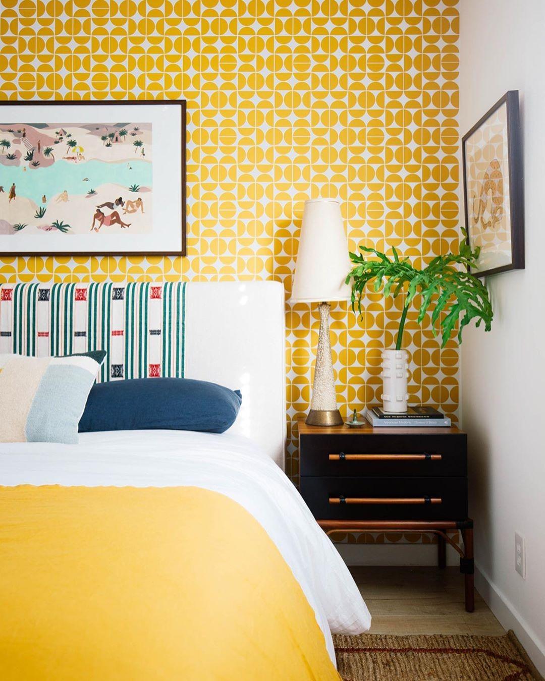 بالصور غرف نوم باللون الأصفر- الأصفر المنقوش