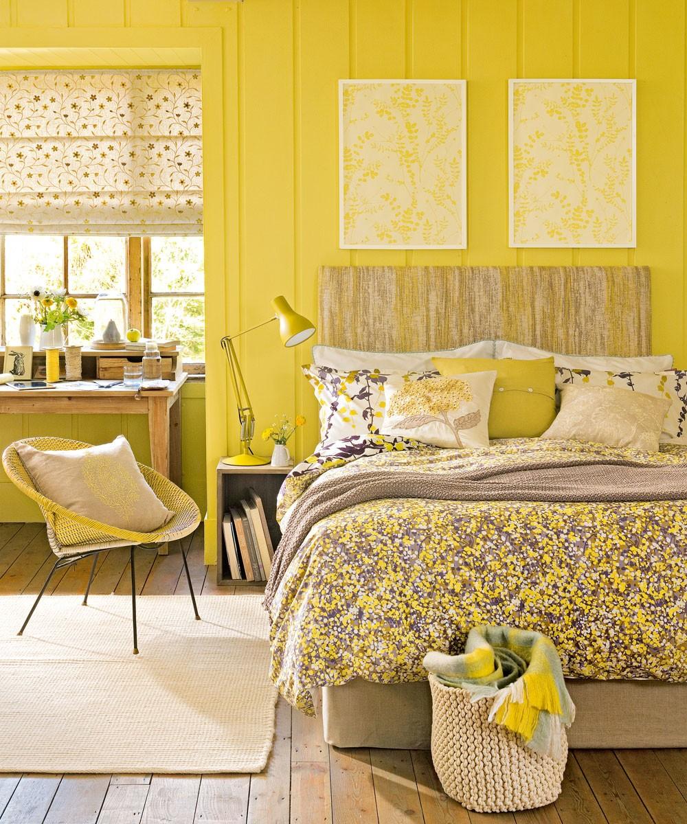 بالصور غرف نوم باللون الأصفر- الأصفر النابض