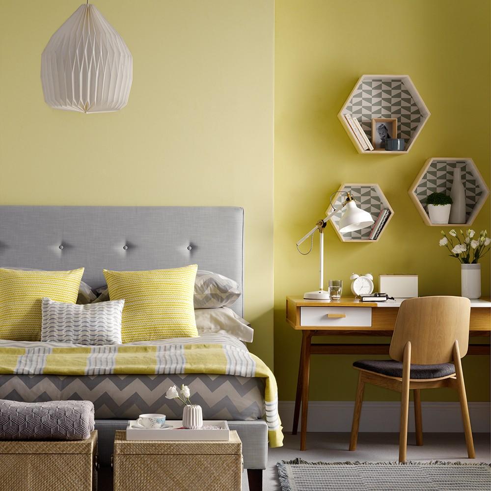 بالصور غرف نوم باللون الأصفر- الرمادي في المفروشات
