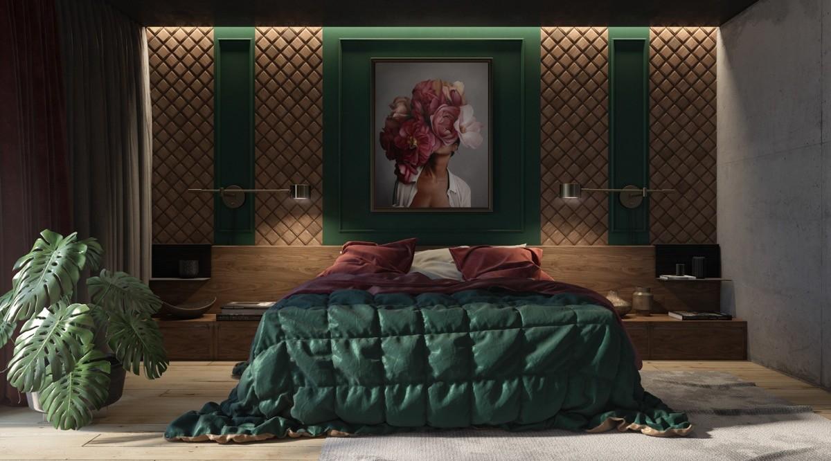 بالصور غرف نوم باللون الأخضر- الأخضر الزمردي