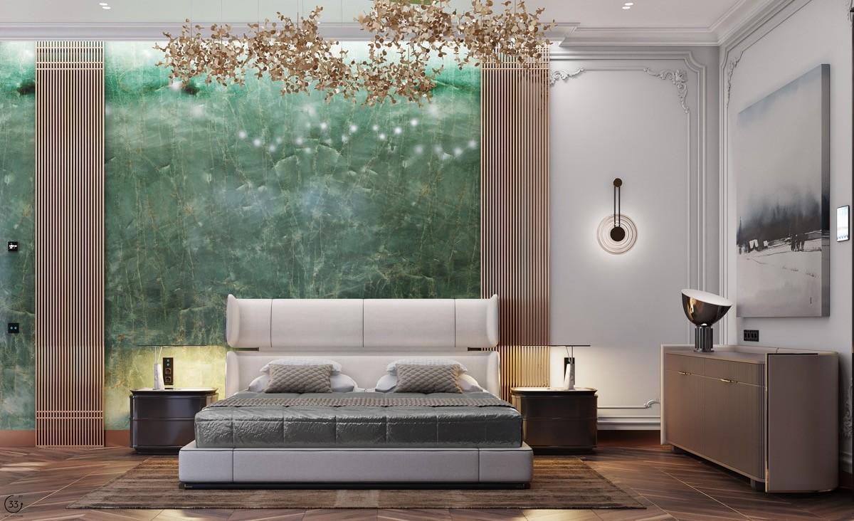 بالصور غرف نوم باللون الأخضر- الأخضر الرخامي