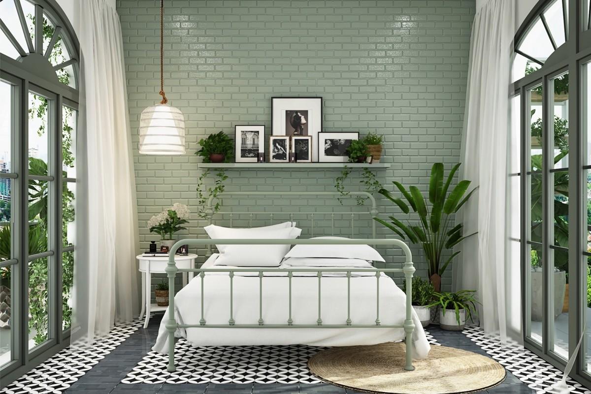 بالصور غرف نوم باللون الأخضر- الأخضر المنت