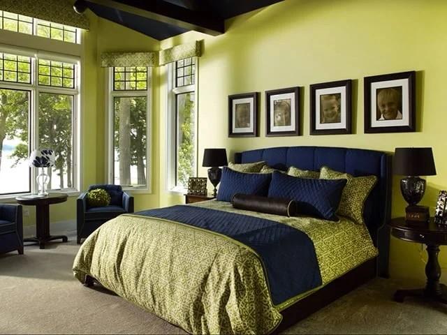 بالصور غرف نوم باللون الأخضر- الأخضر المصفر