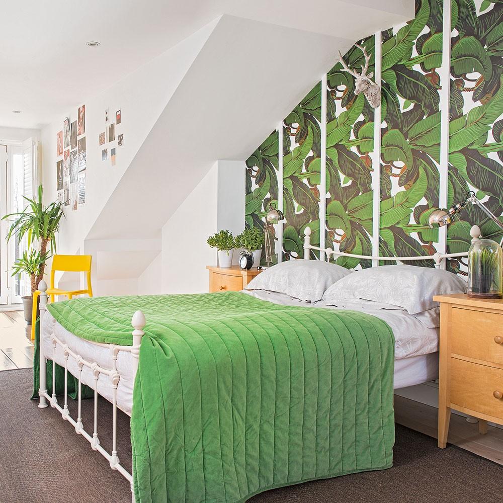 بالصور غرف نوم باللون الأخضر- ورق حائط أخضر