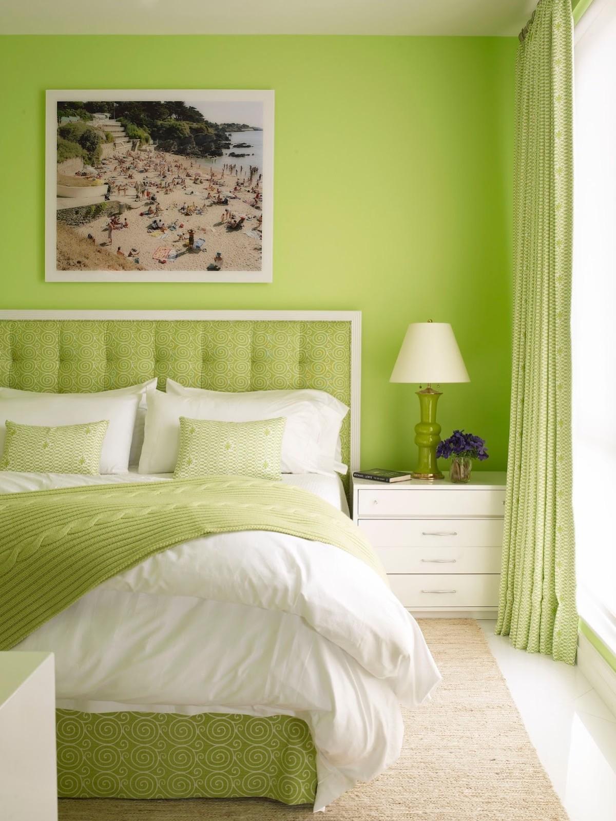 بالصور غرف نوم باللون الأخضر- الأخضر التفاحي