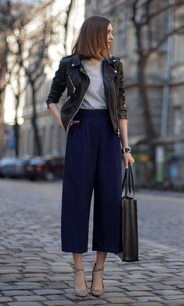 أحدث صيحات موضة ملابس شتاء 2021- البنطال القصير الواسع