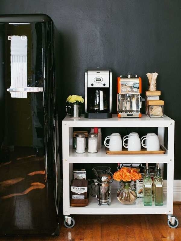 ركن القهوة في المنزل- ركن القهوة على وحدة متنقلة