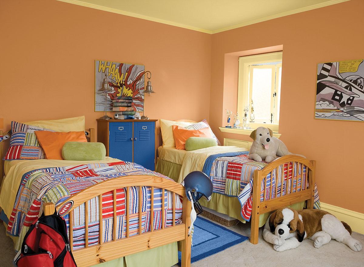 ألوان دهانات مناسبة لغرف أطفال أولاد- البرتقالي