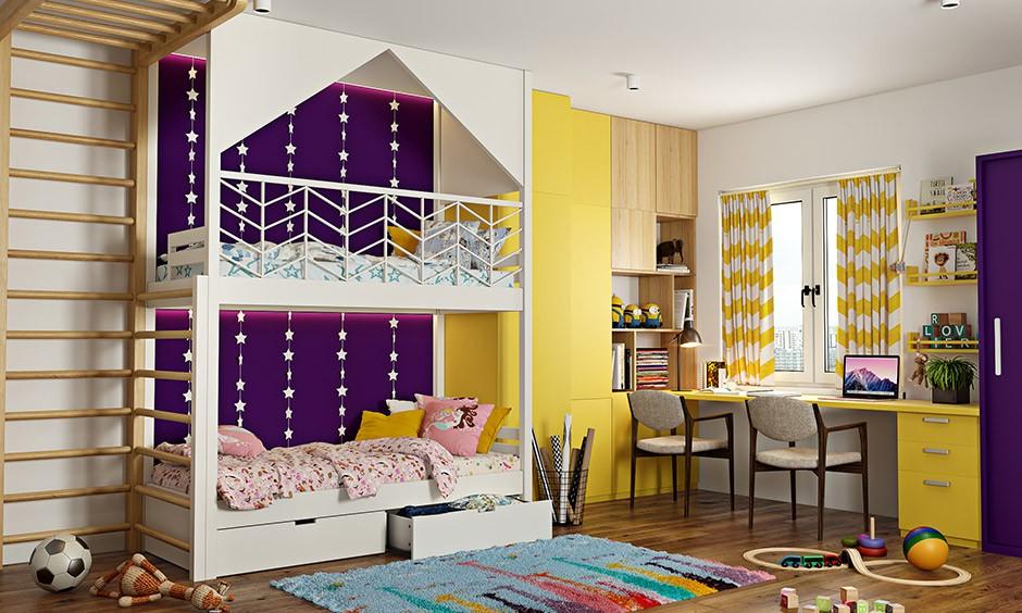 ألوان دهانات مناسبة لغرف أطفال أولاد- الدمج بين لونين