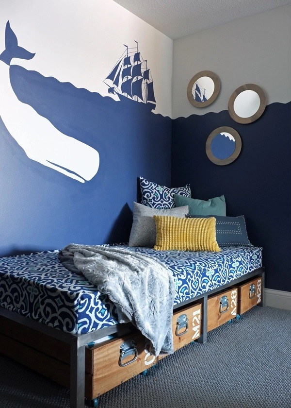 ألوان دهانات مناسبة لغرف أطفال أولاد-غرفة بتصميم بحر