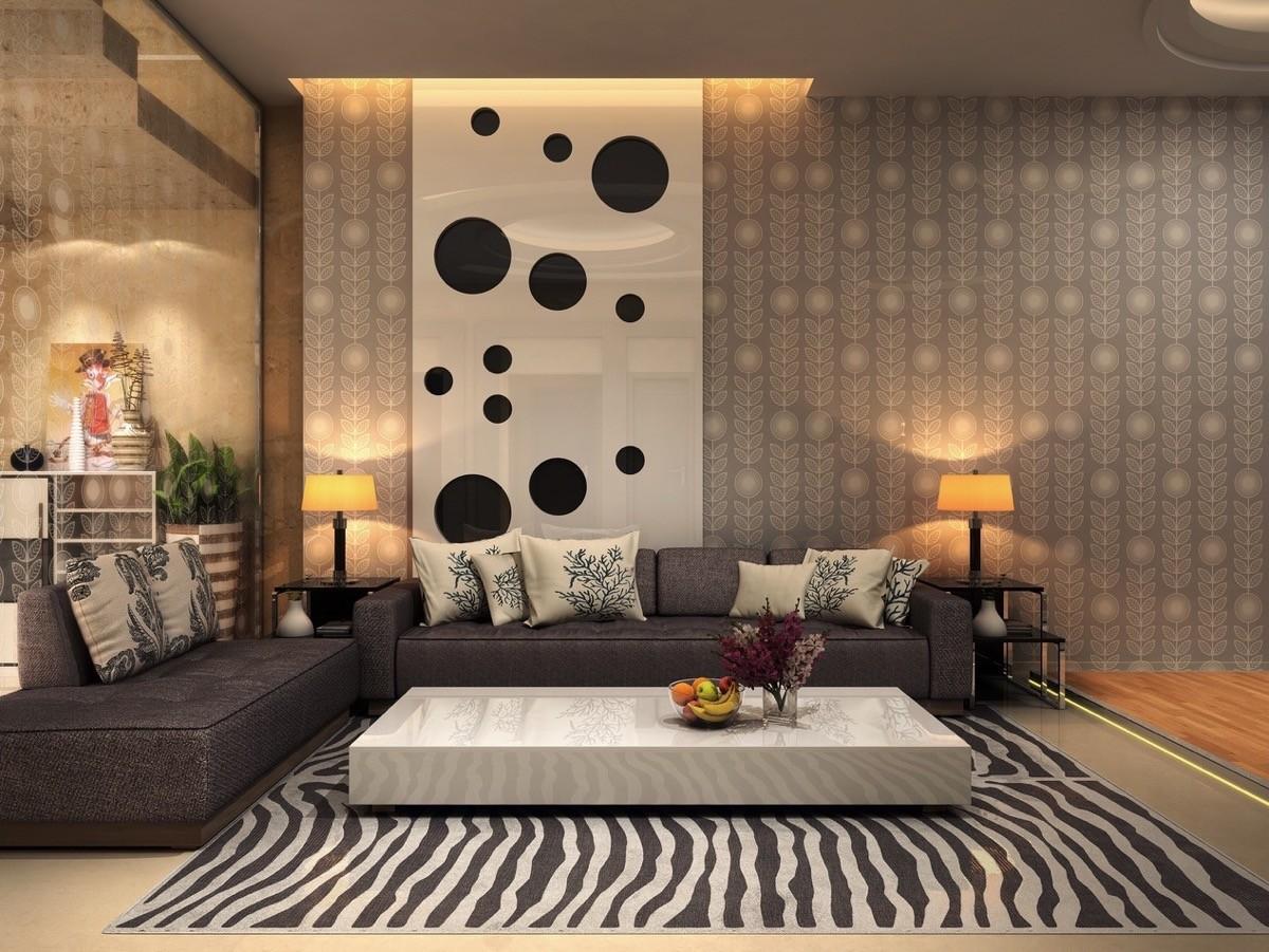 أشكال غرف معيشة مودرن- النقوش في غرفة المعيشة