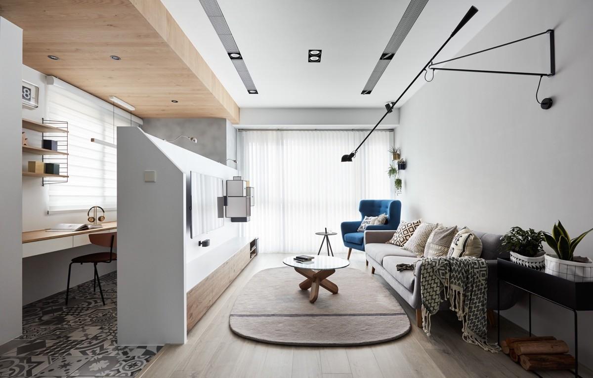 أشكال غرف معيشة مودرن- توزيع الأثاث على حائط واحد