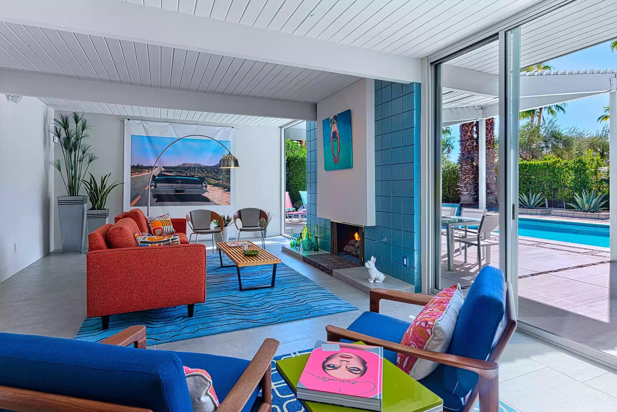 أشكال غرف معيشة مودرن- توزيع الأثاث بطول الغرفة