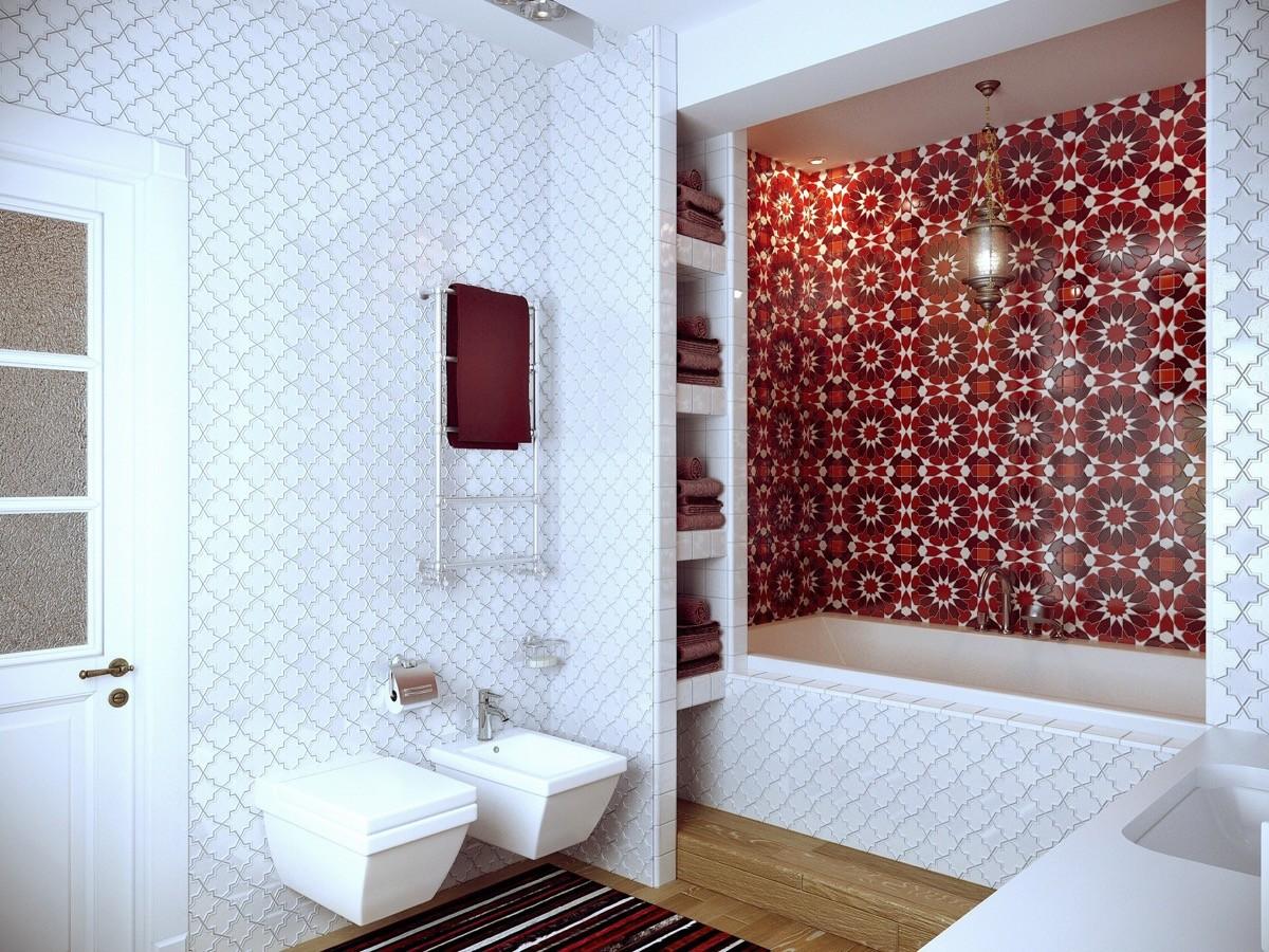 بالصور ديكور الحمام باللون الأحمر- حائط واحد باللون الأحمر