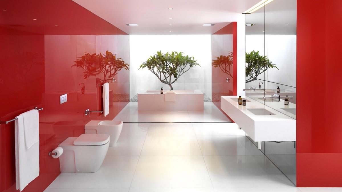 بالصور ديكور الحمام باللون الأحمر- الأحمر اللامع