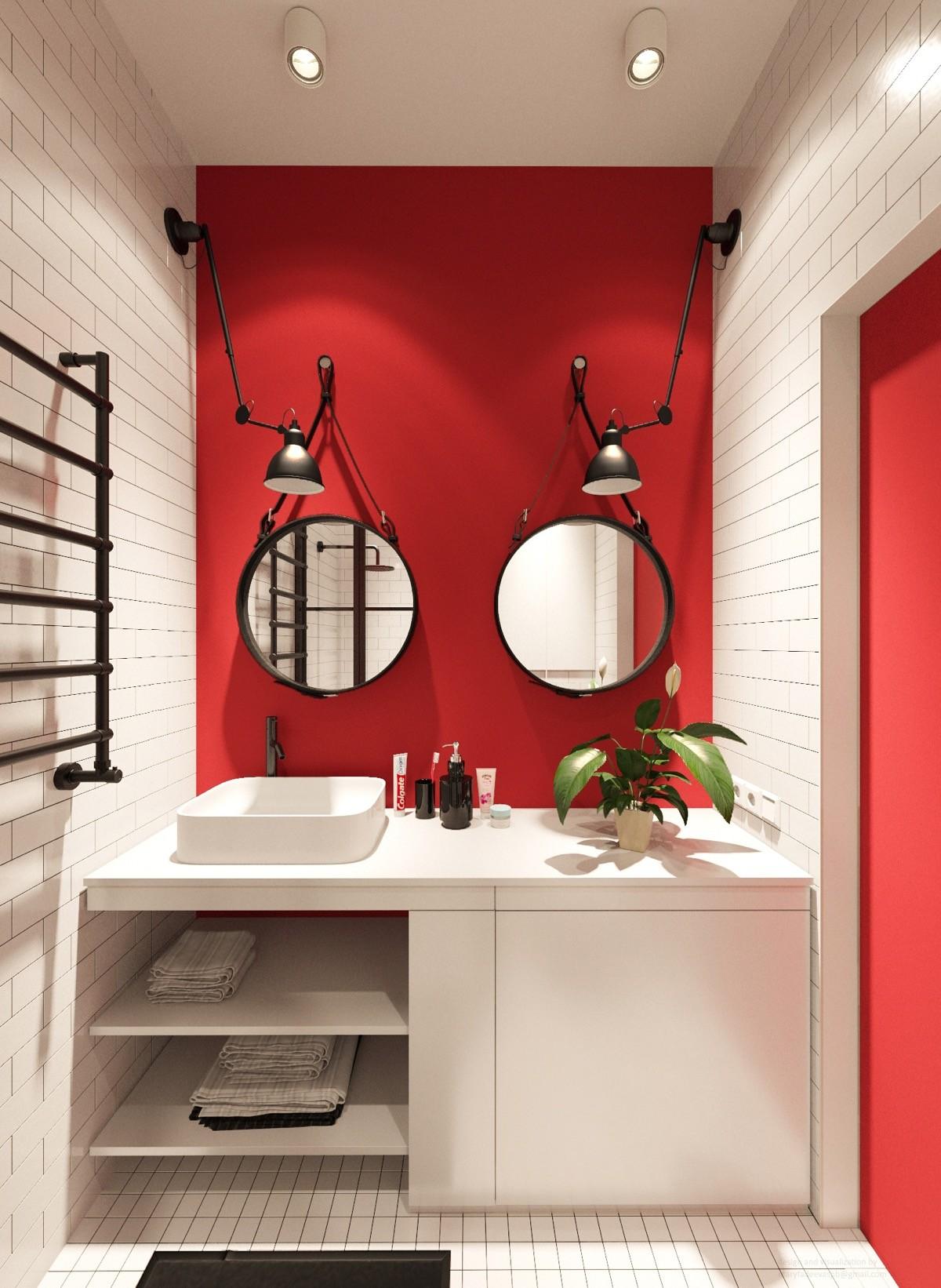 بالصور ديكور الحمام باللون الأحمر- الأحمر المطفي