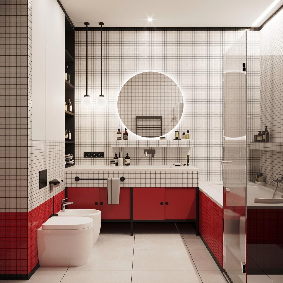 بالصور ديكور الحمام باللون الأحمر- الأحمر في الجزء السفلي من الحمام