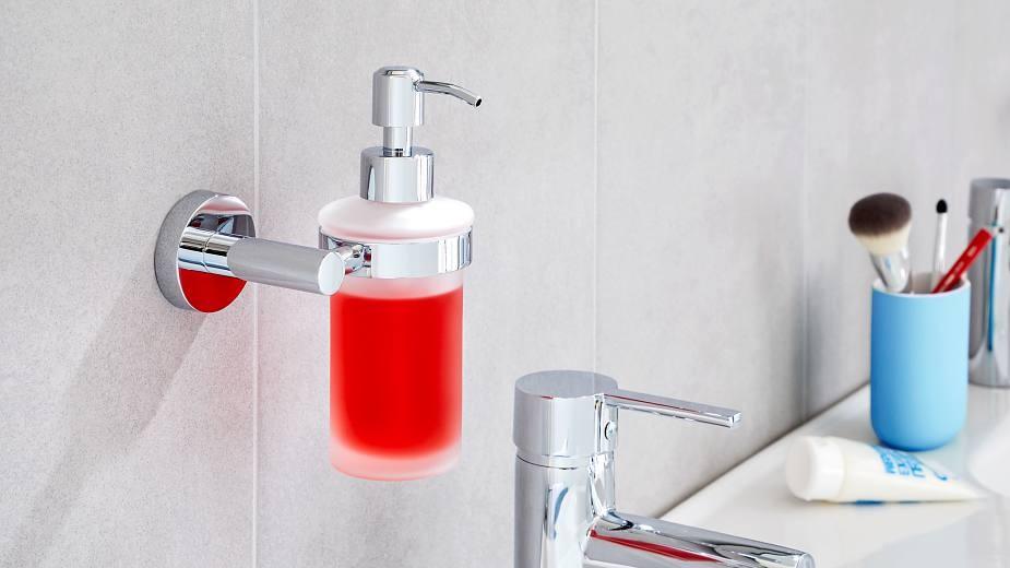 بالصور ديكور الحمام باللون الأحمر- حامل الصابون