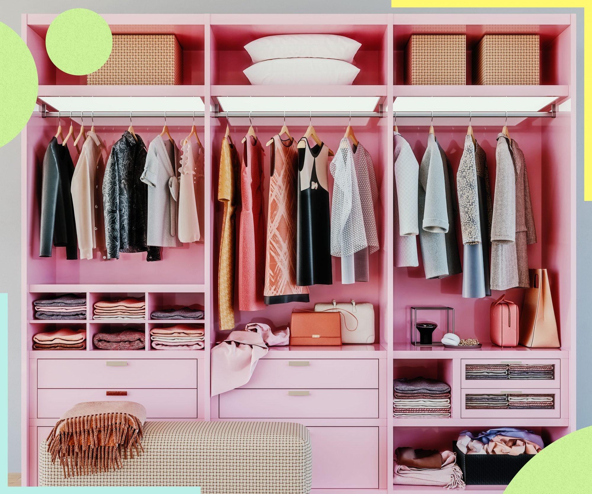 أفكار لتقسيم خزانة الملابس من الداخل- استغلال الجزء أسفل الشماعة