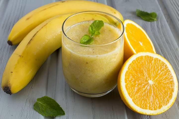 عصير البرتقال للرضع- سموثي الموز والبرتقال