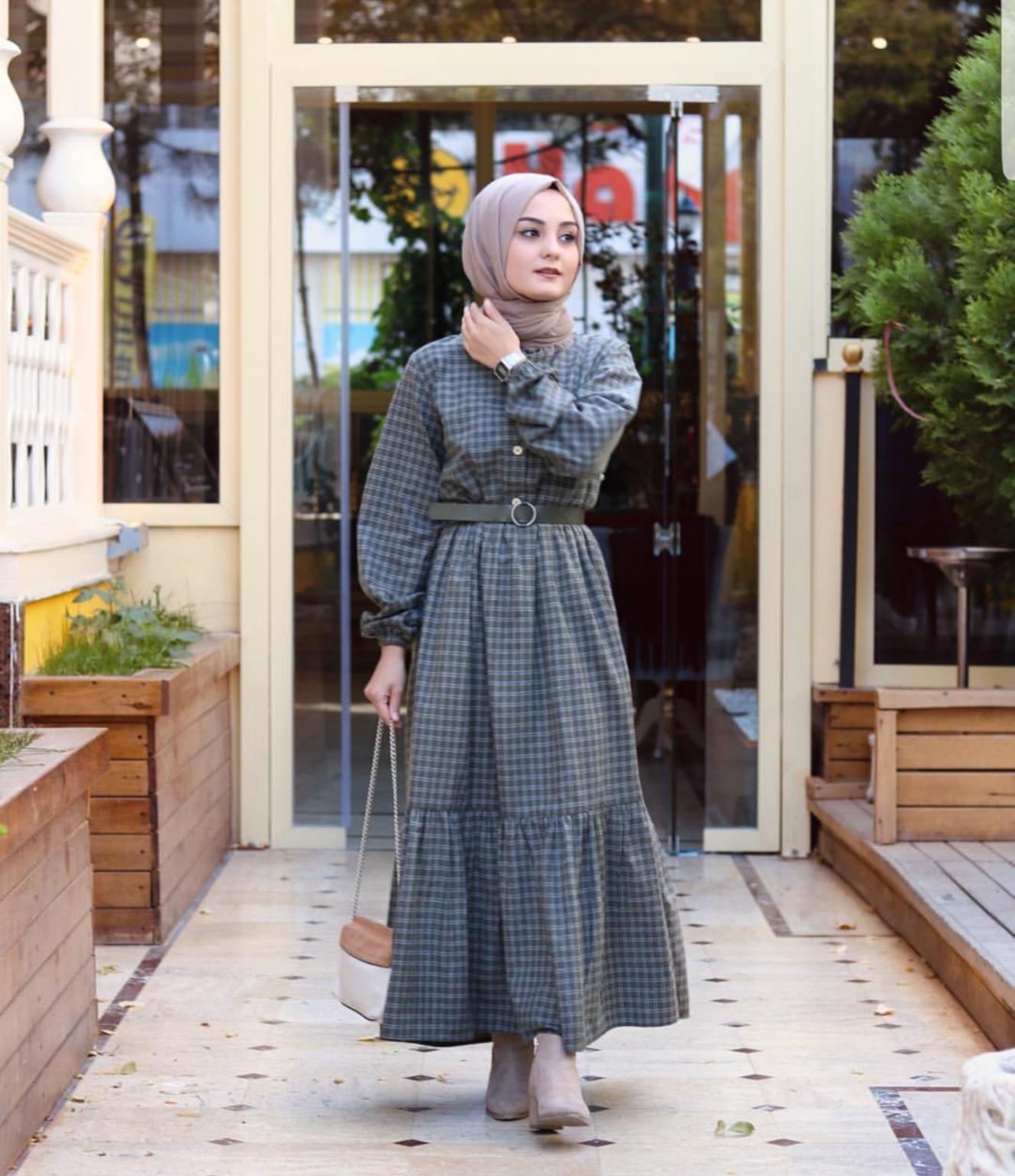 ملابس محجبات- الفستان الكاروه