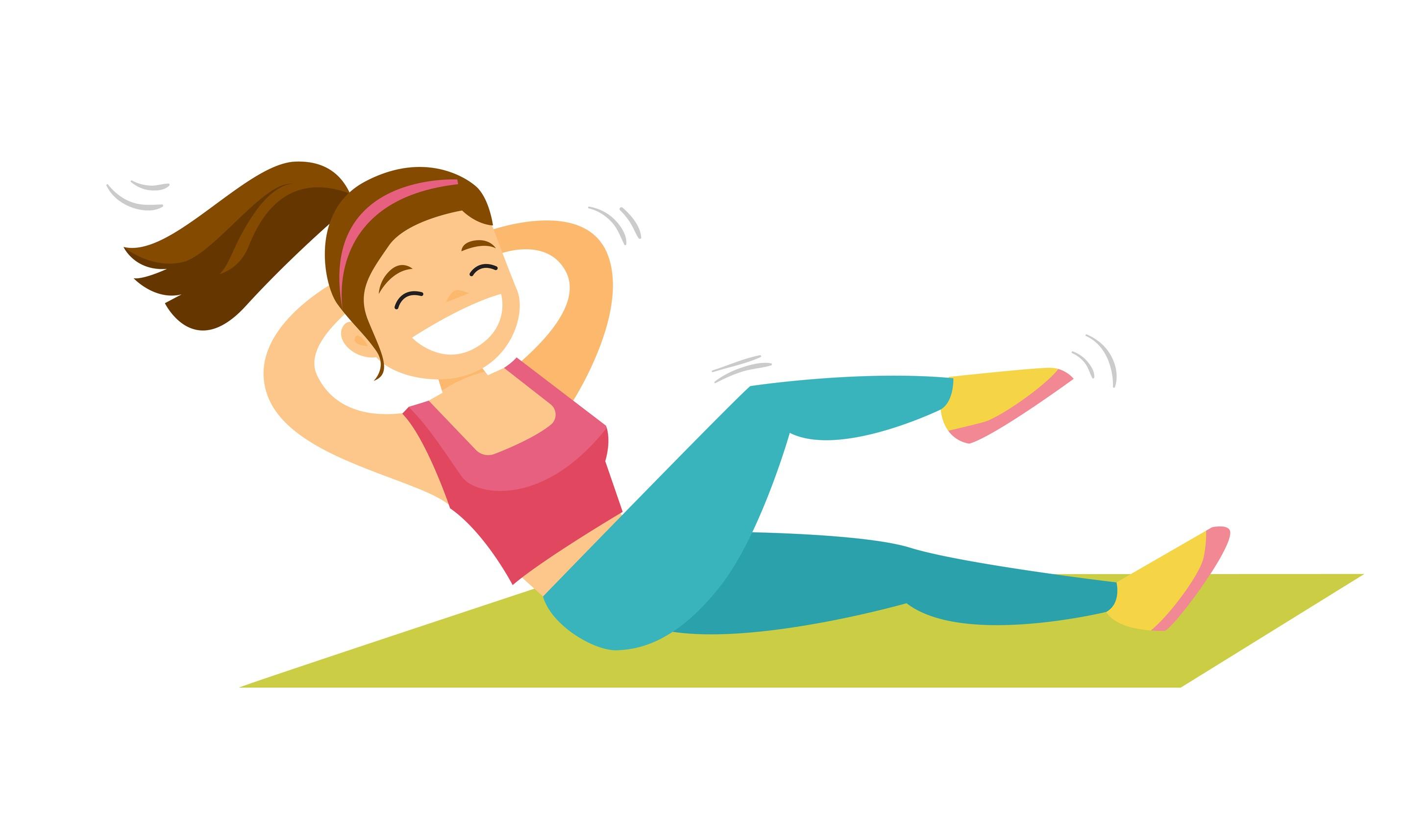 تمارين عضلات البطن للأطفال - تمرين الكرانش للأطفال