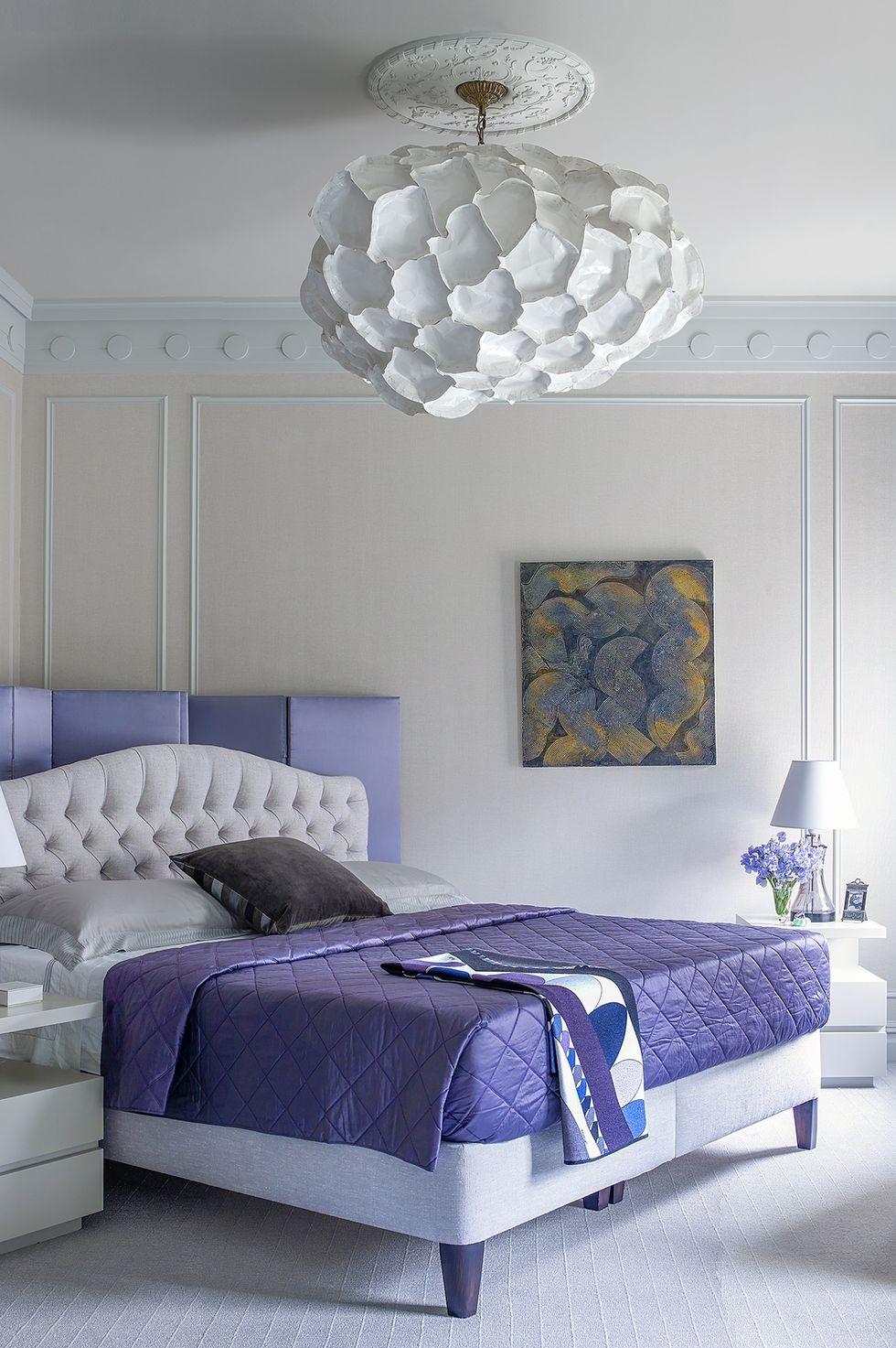 أشكال إضاءة غرف النوم - نجفة بيضاوية