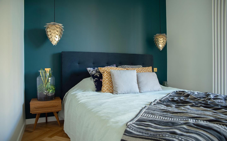 أشكال إضاءة غرف النوم - مصباح متدلي