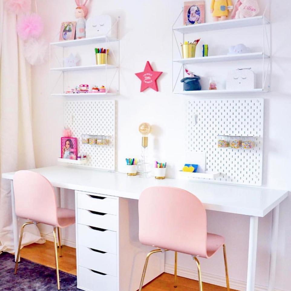 أشكال المكاتب المودرن المناسبة لغرف الأطفال البنات-مكتب بناتي