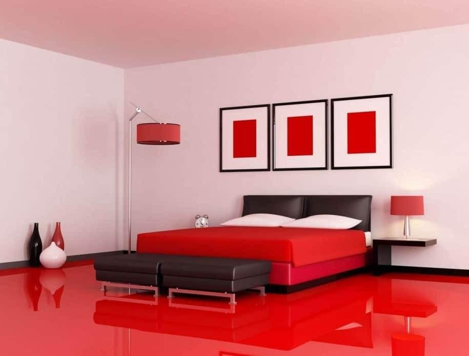 بالصور غرف نوم باللون الأحمر-أرضية حمراء لغرفة النوم