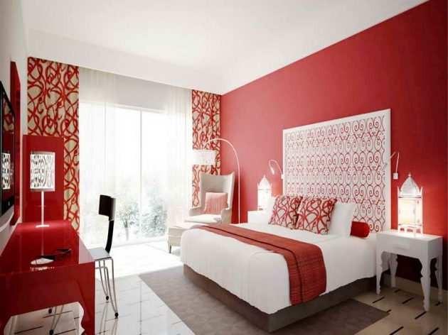 بالصور غرف نوم باللون الأحمر-غرفة أحمر وأبيض