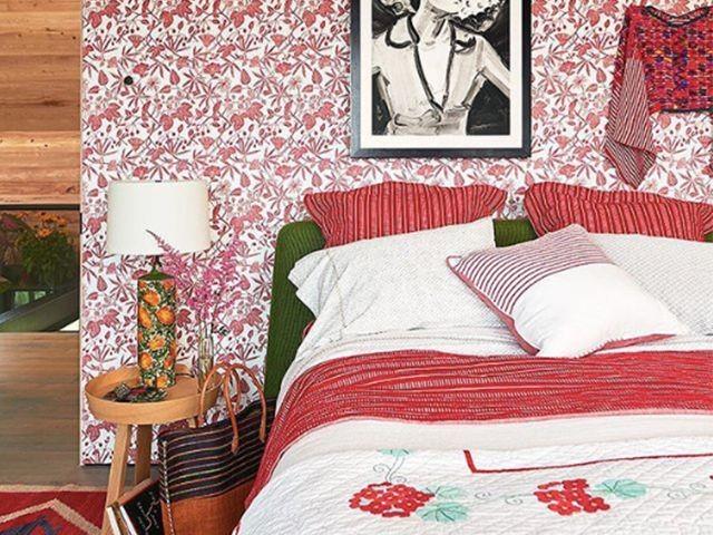 بالصور غرف نوم باللون الأحمر-ورق أبيض وأحمر