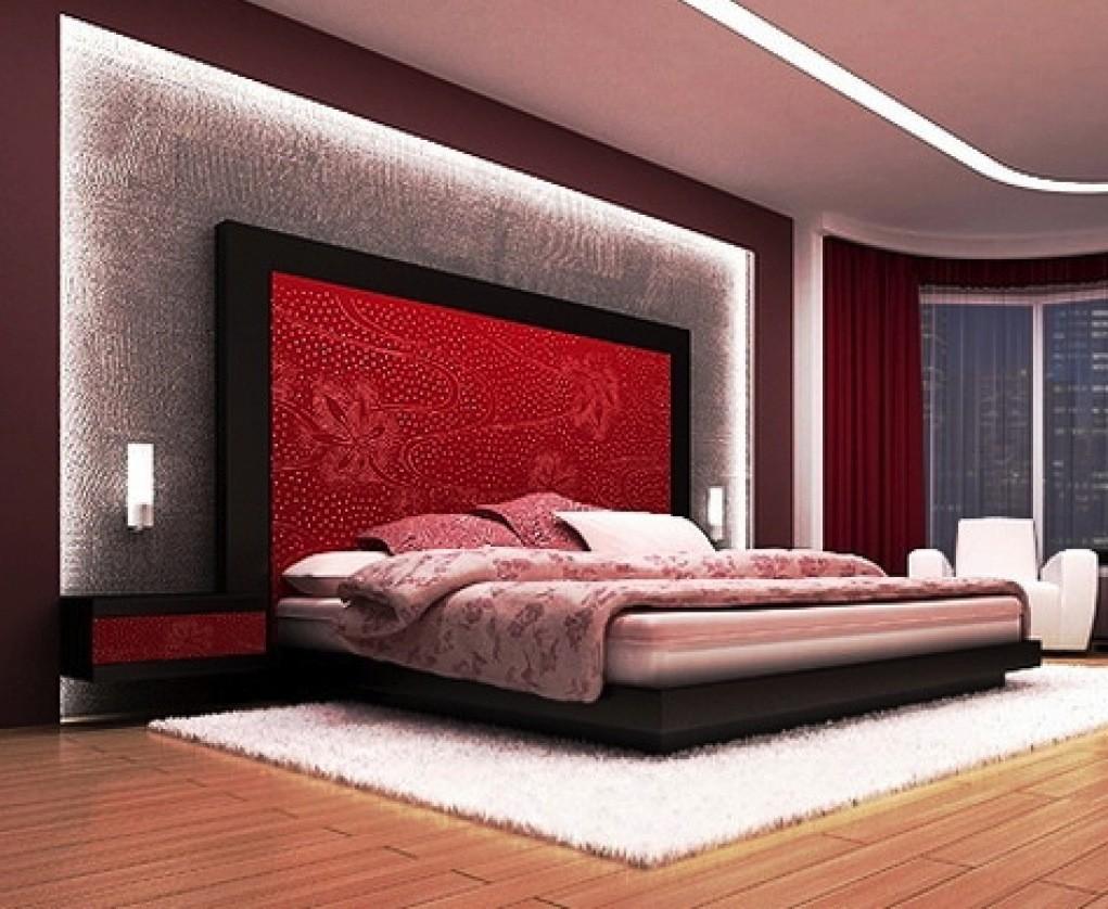 بالصور غرف نوم باللون الأحمر-سرير أحمر وأسود