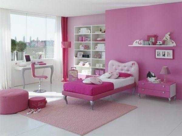 غرف نوم بنات باللون الزهري-غرفة بينك في أبيض