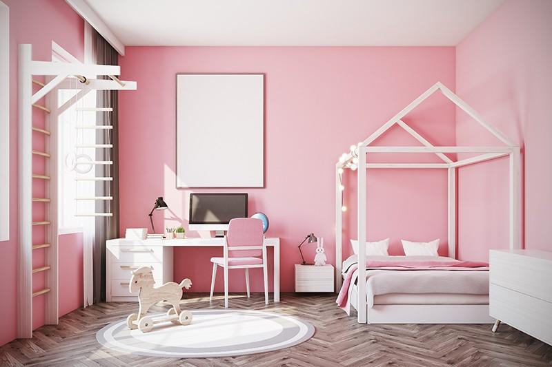 غرف نوم بنات باللون الزهري-غرفة وردي