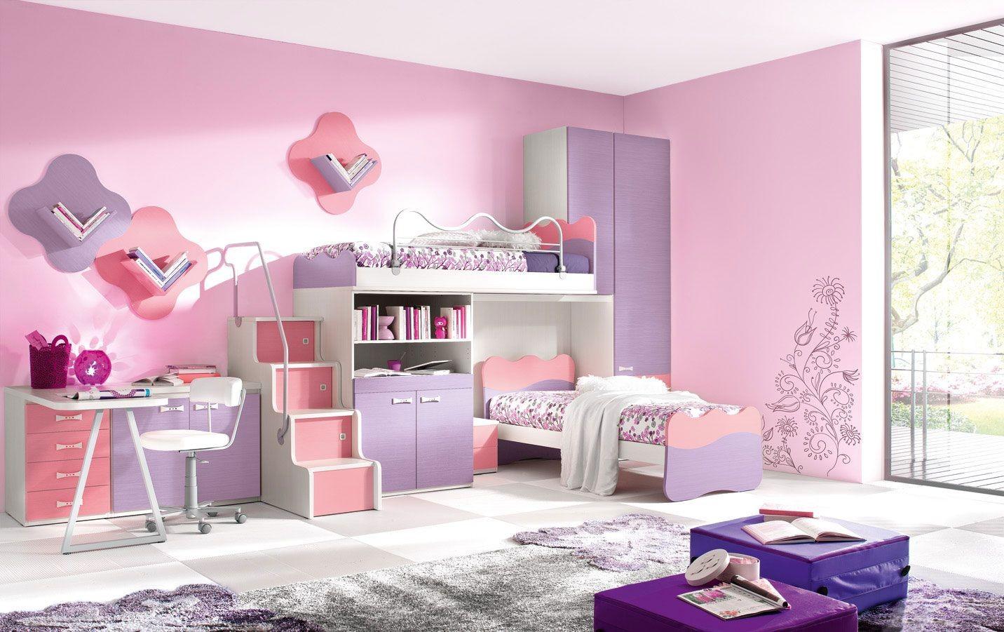 غرف نوم بنات باللون الزهري-غرفة وردي وموف