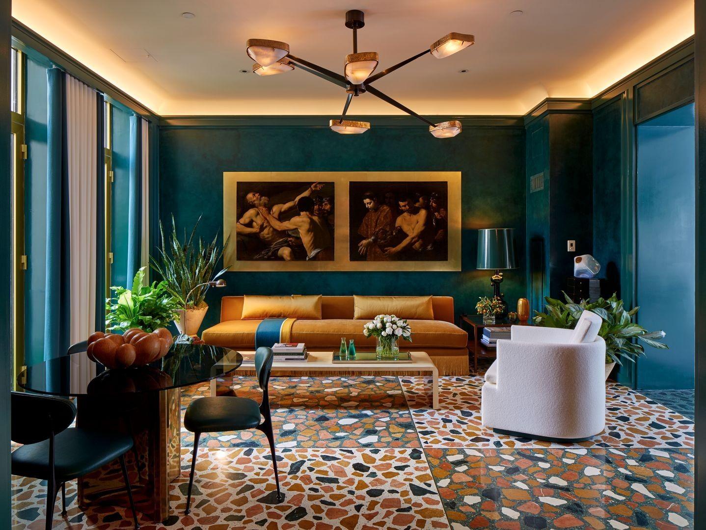 أشكال غرف معيشة -غرفة معيشة تركواز