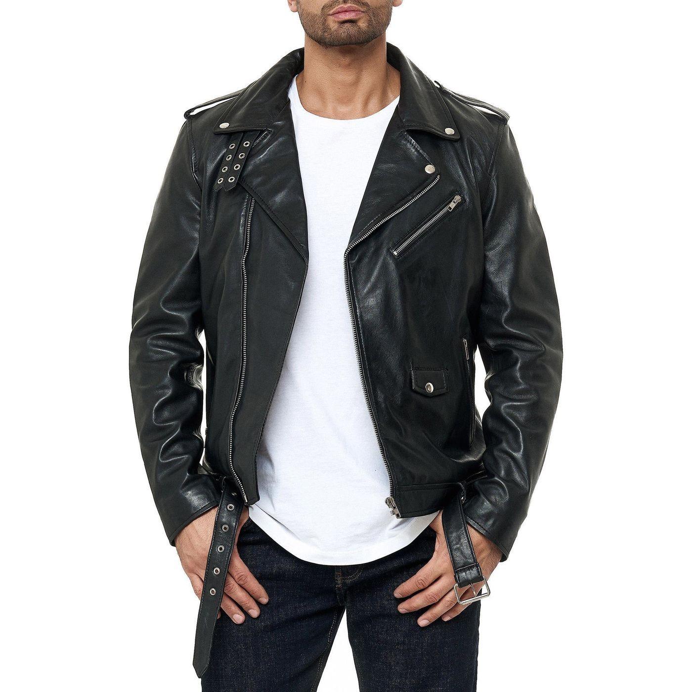 موضة ملابس رجال شتاء-جاكيت جلد أسود