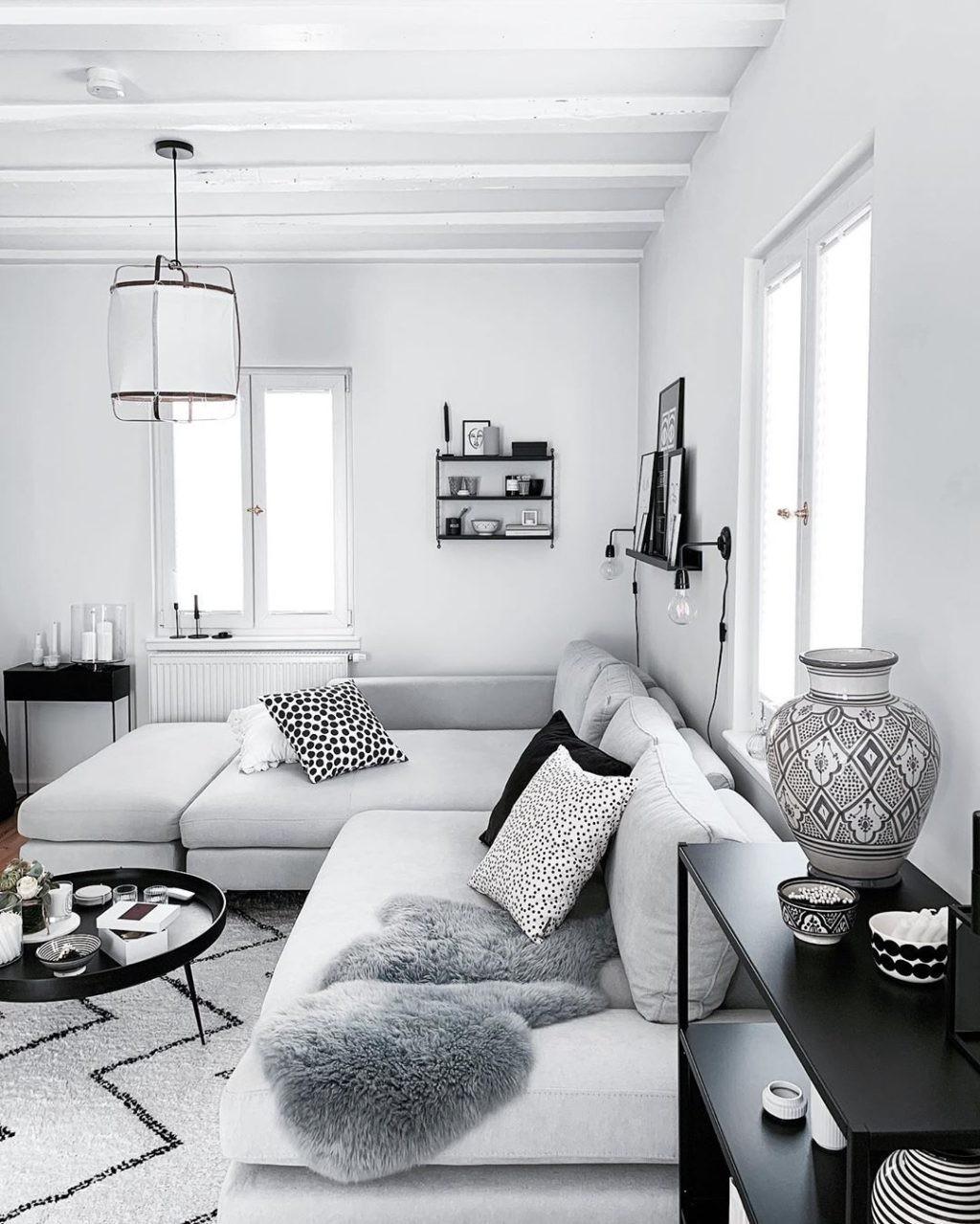 أشكال غرف معيشة 2021-غرفة معيشة أبيض وأسود