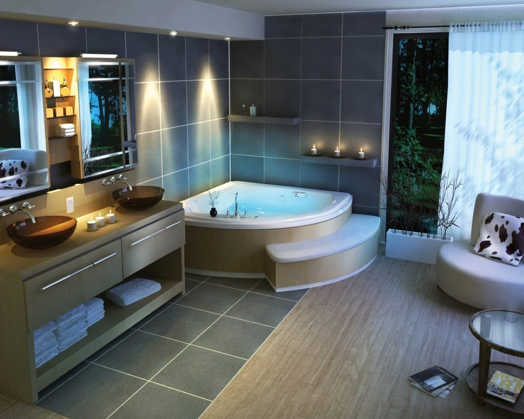 إضاءات حمامات مودرن-حمام كبير